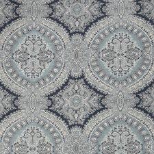 Blue Jacquard Pattern Decorator Fabric by Stroheim