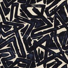 Indigo Geometric Decorator Fabric by S. Harris