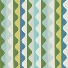 Aqua/Green Stripe Decorator Fabric by Duralee