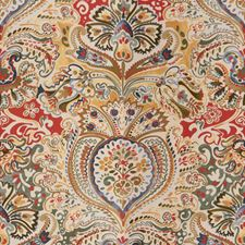 Poppy/Blue Paisley Decorator Fabric by Lee Jofa