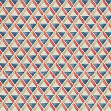 Red/Blue Geometric Decorator Fabric by Lee Jofa
