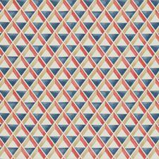 Red/Blue Geometric Decorator Fabric by Lee Jofa