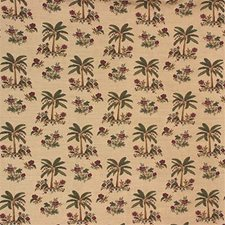 Beige/Green/Burgundy Tropical Decorator Fabric by Kravet