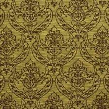 Brown/Light Green Damask Decorator Fabric by Kravet