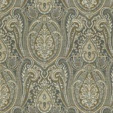 Beige/Grey/Blue Ethnic Decorator Fabric by Kravet