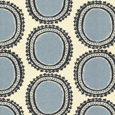 Beige/Light Blue/Blue Modern Decorator Fabric by Kravet