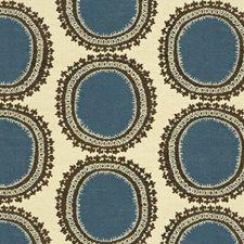 Beige/Brown/Blue Modern Decorator Fabric by Kravet