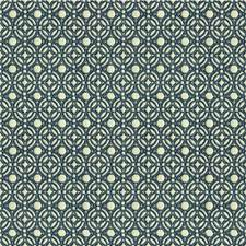 White/Blue Geometric Decorator Fabric by Kravet
