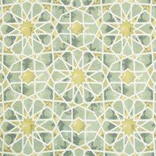 Green/Celery/White Ethnic Decorator Fabric by Kravet