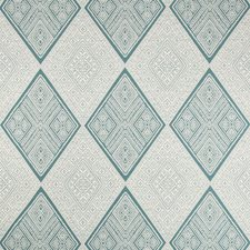 Ivory/Light Blue/Beige Diamond Decorator Fabric by Kravet