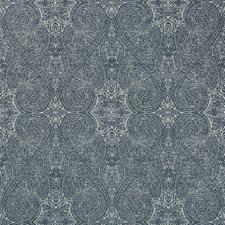 Ivory/Dark Blue Damask Decorator Fabric by Kravet
