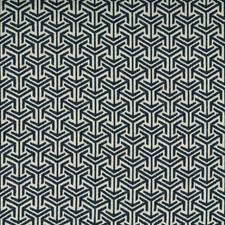 Dark Blue/Indigo Geometric Decorator Fabric by Kravet