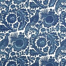 Light/Dark Blue On White Decorator Fabric by Scalamandre