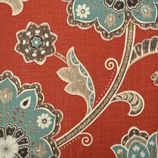 Poppy Red Floral Large Decorator Fabric by Duralee