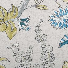 Aqua Floral Large Decorator Fabric by Duralee