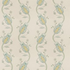 Teal Embroidery Decorator Fabric by Vervain
