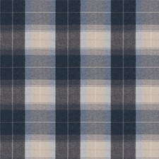 Navy Check Decorator Fabric by Stroheim