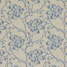 Natural/Aqua Embroidery Decorator Fabric by Duralee