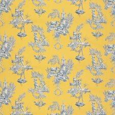 Gold/Indigo Figurative Decorator Fabric by Brunschwig & Fils
