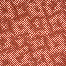 Red Geometric Decorator Fabric by Greenhouse