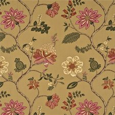 Red/Gold Embroidery Decorator Fabric by G P & J Baker