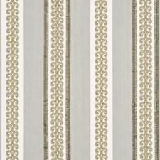 Aqua Embroidery Decorator Fabric by G P & J Baker