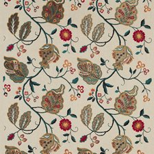 Red/Olive/Teal Embroidery Decorator Fabric by G P & J Baker