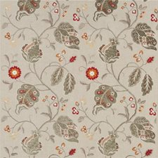 Red/Green/Sienna Embroidery Decorator Fabric by G P & J Baker