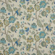 Teal/Gilt Embroidery Decorator Fabric by G P & J Baker