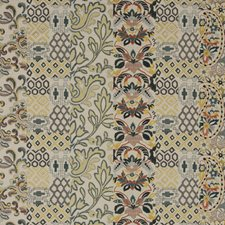 Amber/Emerald Embroidery Decorator Fabric by G P & J Baker