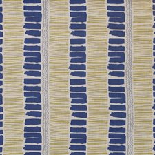 Indigo/Yellow/Aqua Contemporary Decorator Fabric by Lee Jofa