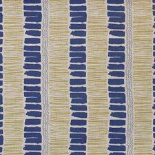 Indigo/Yellow/Aqua Modern Decorator Fabric by Lee Jofa