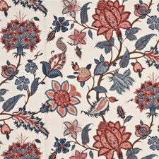 Blue/Pink Botanical Decorator Fabric by G P & J Baker