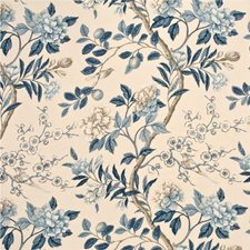 Blue/Cream Botanical Decorator Fabric by G P & J Baker