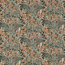 Dark Aqua/Coral Print Decorator Fabric by G P & J Baker