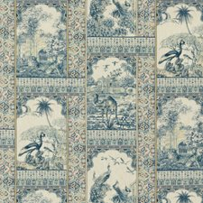 Red/Blue Toile Decorator Fabric by G P & J Baker