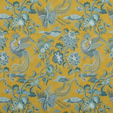 Ochre/Blue Animal Decorator Fabric by G P & J Baker