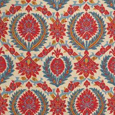 Pompeian Red/Blue Damask Decorator Fabric by Brunschwig & Fils