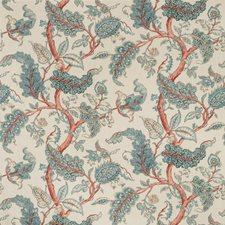 Beige/Teal/Coral Botanical Decorator Fabric by Kravet