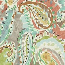 Rose/Green Paisley Decorator Fabric by Duralee