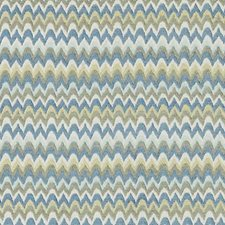 Blue/Avocado Flame Stitch Decorator Fabric by Duralee