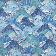 Teal Print Decorator Fabric by Groundworks
