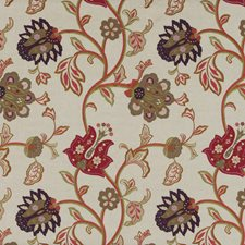 Red/Plum Embroidery Decorator Fabric by Mulberry Home
