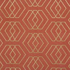 Salmon Geometric Decorator Fabric by Groundworks