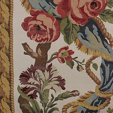 Red/Blue On Ivory Decorator Fabric by Scalamandre