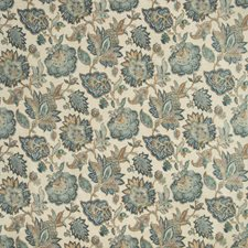 Blue/Camel/Green Botanical Decorator Fabric by Kravet