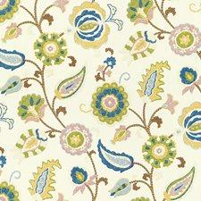 White/Blue/Green Print Decorator Fabric by Kravet