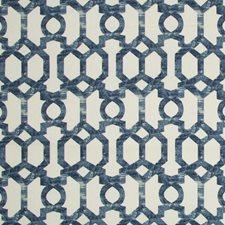 Ivory/Indigo Lattice Decorator Fabric by Kravet