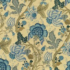 Blue/Light Blue/Beige Print Decorator Fabric by Kravet