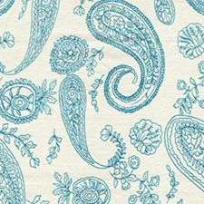 Turquoise Cream Decorator Fabric by RM Coco